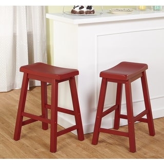 Belfast 24-inch Red Saddle Stool (Set of 2)