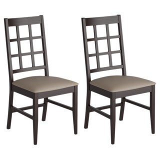 CorLiving Atwood Cappuccino Stained Dining Chairs with Leatherette Seat (Set of 2)