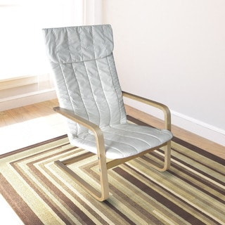 CorLiving Aquios Bentwood High Back Armchair in Eggshell White