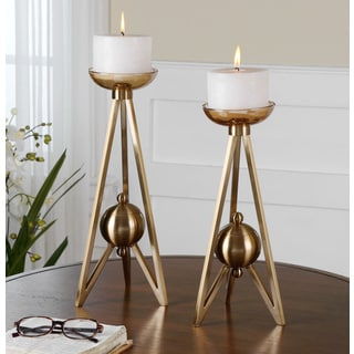 Uttermost Andar Coffee Bronze Candle Holders (Set of 2)