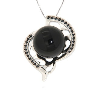 Pearlz Ocean Sterling Silver Black Onyx Cabochon and Black Spinel Necklace