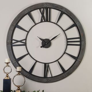 Ronan Dark Bronze Large Metal Wall Clock