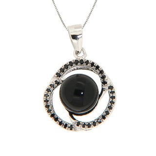 Pearlz Ocean Sterling Silver Black Onyx and Black Spinel Spiral Necklace