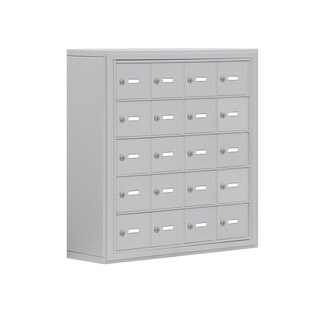 Cell Phone Storage Locker-5 Door High Unit (8 Inch Deep Compartments)-20 A Doors-Aluminum-Surface Mounted-Keyed Locks