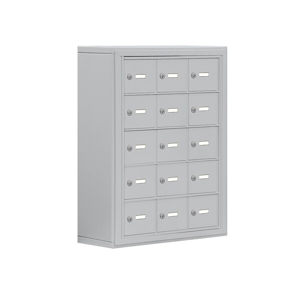 Cell Phone Storage Locker-5 Door High Unit (8 Inch Deep Compartments)-15 A Doors-Aluminum-Surface Mounted-Keyed Locks