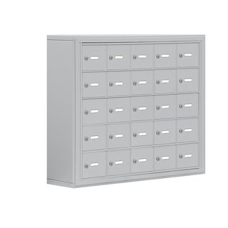 Cell Phone Storage Locker-5 Door High Unit (8 Inch Deep Compartments)-25 A Doors-Aluminum-Surface Mounted-Keyed Locks