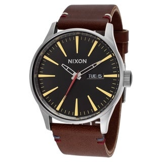Nixon Men's A105-019 Sentry Leather Brown Watch