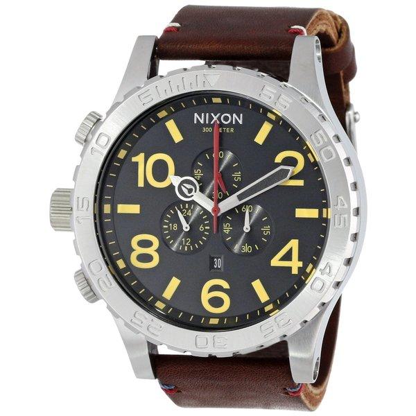 Nixon Men's A124019-00 Brown Leather 51-30 Chrono Black Dial Watch