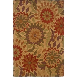 LNR Home Dazzle Rustic Natural Floral Area Rug (7'9 x 9'9)