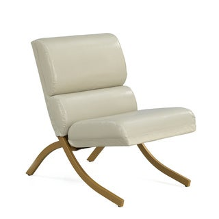 Retro Glitz Rialto Goldtone/ Cream Bonded Leather Chair