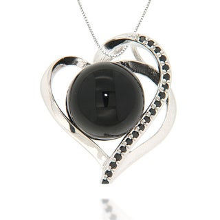 Pearlz Ocean Sterling Silver Black Onyx and Black Spinel Heart Necklace