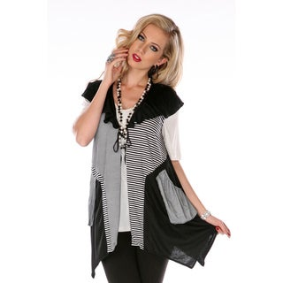 Women's Grey Scarf Cap-sleeve Top