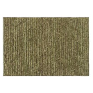 Hand-knotted Jessore Washed Green Jute Area Rug (6' x 9')