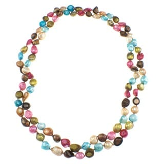Pearlz Ocean Multi-colored Biwa Freshwater Pearl Endless Necklace (10 mm)