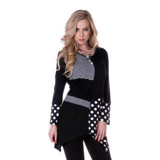 Women's Multi-pattern Black/ White Long-sleeve Top