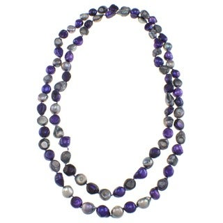Pearlz Ocean Grey and Purple Biwa Freshwater Pearl Endless Necklace (10 mm)