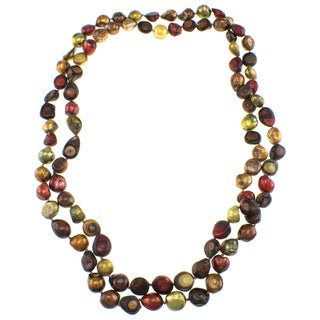 Pearlz Ocean Biwa Multi-colored Freshwater Pearl Endless Necklace (10 mm)