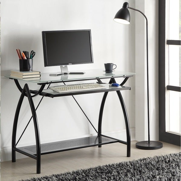 Black Metal Glass Top Desk With Keyboard Tray 16291531
