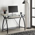 Black Metal Glass Top Desk with Keyboard Tray