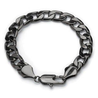 Neno Buscotti Black Ruthenium-plated Men's Curb-link Bracelet