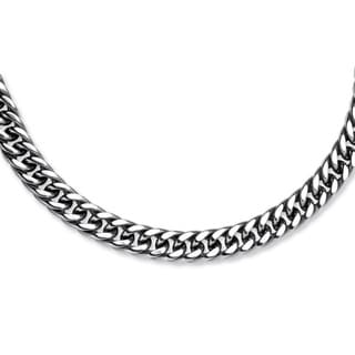 Neno Buscotti Men's Stainless Steel Curb-link Chain Necklace