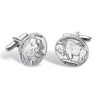 PalmBeach Men's Genuine Buffalo Head Nickel Cufflinks in Silvertone