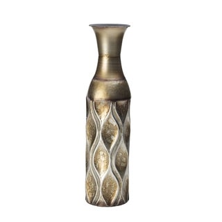 Elements 17-inch Emblem Metal Gold Wave Vase