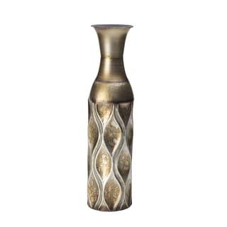Elements 17-inch Emblem Metal Gold Wave Vase