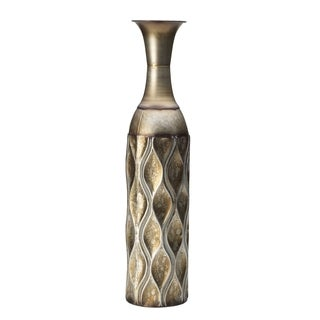 Elements 24-inch Embossed Goldtone Metal Wave Vase