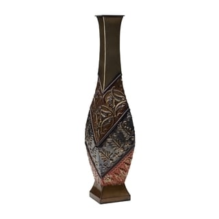 Elements 24-inch Embossed Metal Red-blue-gold Swirl Vase