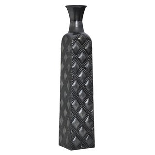Elements 24-inch Embossed Metal Graphite Quilt Vase