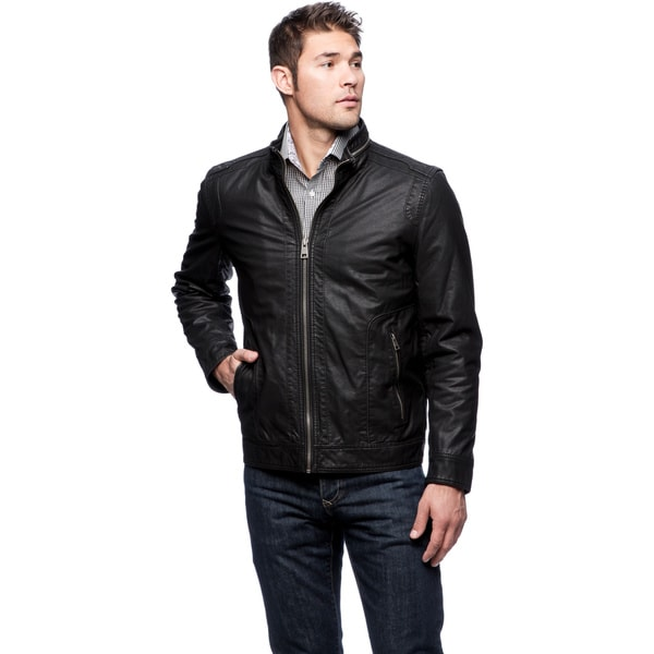 Black Rivet Men's Classic PU Coated Jacket