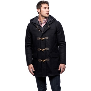 Black Rivet Men's Classic Wool Toggle Coat