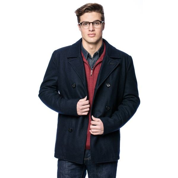 Black Rivet Men's Classic Wool Peacoat Large Size in Black (As Is Item)