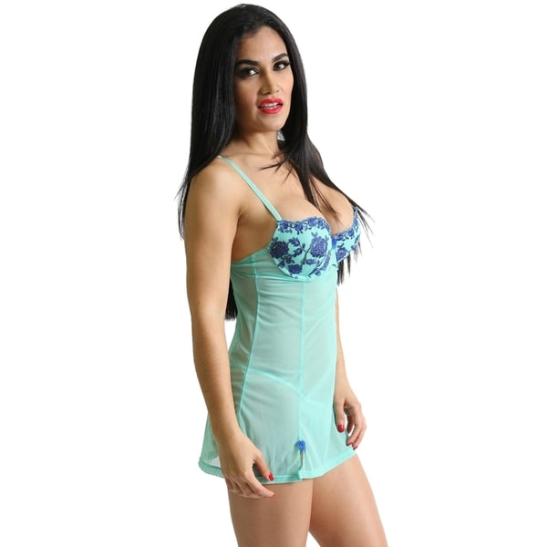 Prestige Biatta Embroidered Mesh Baby Doll and G-string Set