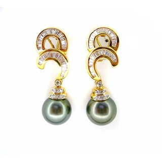 Kabella Luxe Vintage 18k Gold 1 3/4ct TDW Diamond Tahitian Pearl Dangle Estate Earrings (H-I, I1-I2) (11-12 mm)