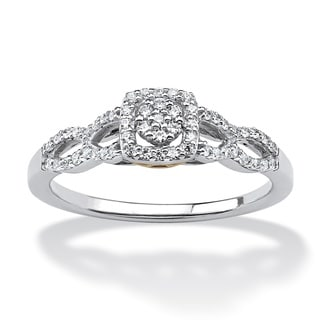 Isabella Collection 10k White Gold 1/6ct TDW Diamond Halo Ring (H-I, I2-I3)