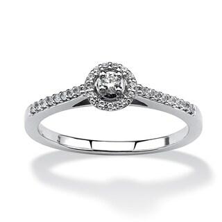 Isabella Collection 10k White Gold 1/8ct TDW Diamond Halo Ring (H-I, I2-I3)