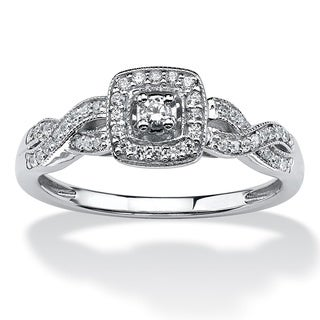 Isabella Collection 10k White Gold 1/5ct TDW Diamond Halo Ring (H-I, I2-I3)