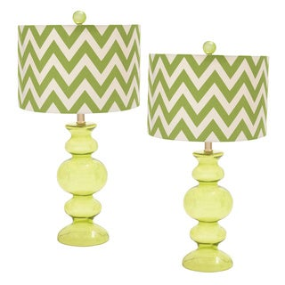Chevron Zig-zag 26-inch Artisan Glass Table Lamp - Set of 2