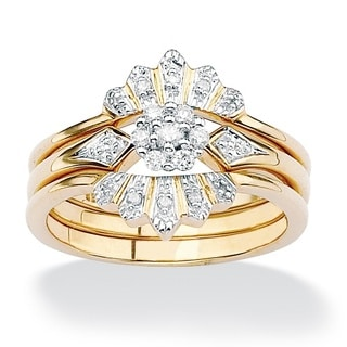 PalmBeach 3 Piece 1/7 TCW Round Diamond Bridal Ring Set in 18k Gold over Sterling Silver