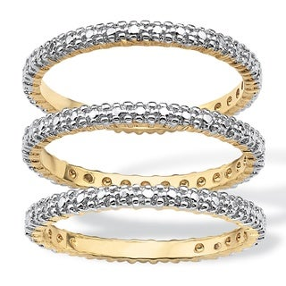 Isabella Collection Gold Overlay Stackable Diamond Accent Bands (I-J, I2-I3) (Set of 3)