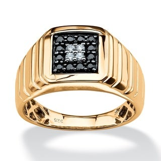 Isabella Collection Gold over Silver Men's 1/3ct TDW Black and White Diamond Ring (H-I, I2-I3)