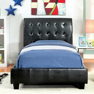 Furniture of America Leatherette Platform Bed with Bluetooth Speakers