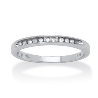 PalmBeach Platinum Over Silver 1/10ct TDW Diamond Anniversary Band (H-I, I2-I3)