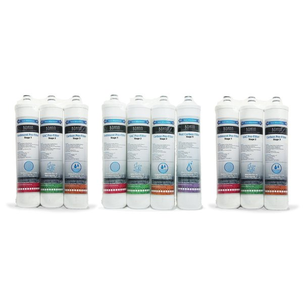 BOANN 18 Month Filter Pack for Reverse Osmosis (RO) Water Filtration System 13089062