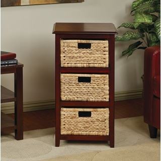 Basket Storage Tower with Three Braided Removable Straw-Grass Bins