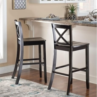 Linon Black X Back Bar Stool