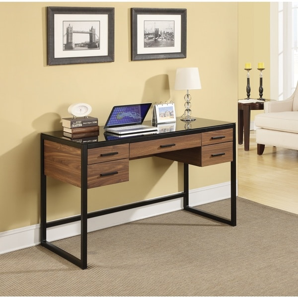 Desk with Wood Grain and Glass Top with Pull Out Flip Down Keyboard Tray 13089078