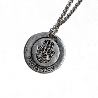 Silvertone Metal 'Hamsa' Emulate Spiritual Necklace